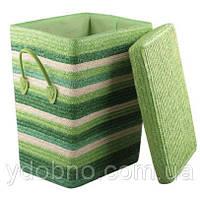 Корзина для белья с крышкой, зеленая. Высота: 50 см
