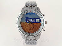 Часы мужские с Гербом Украины цвет серебро, стальной браслет