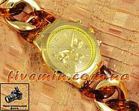 Женские наручные часы Michael Kors Gold Yellow Brown косичка японский механизм качественные