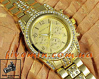 Женские наручные часы Michael Kors Gold Yellow Dimond японский механизм качественные