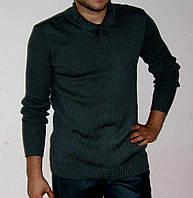 Вязаный мужской свитер с воротником-поло