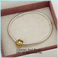 Браслет Pandora (Пандора) с золотой клипсой - серебряное украшение на руку