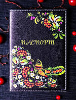 "Обложка на паспорт ""Птичка в украинском стиле"" 06"