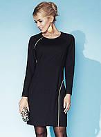 Женское демисезонное платье черного цвета, украшено молниями. Модель Amber Zaps.