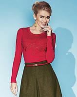 Женская трикотажная блуза с длинным рукавом красного цвета. Модель Charlize Zaps.
