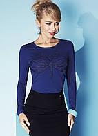 Женская блуза из вискозы синего цвета с принтом бабочка. Модель Charlize Zaps.