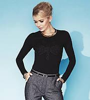 Трикотажная женская блуза черного цвета из вискозной ткани. Модель Charlize Zaps.