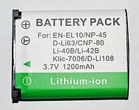 Аккумулятор для фотоаппаратов Pentax Optio L30, L36, M30, V10, T30, W30, M40 - D-LI108/D-Li63 - 1200 ma