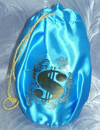 Свадебный мешочек для денег голубой