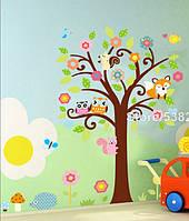"""Наклейка на стену, украшения стены наклейки  """"Дерево в детскую"""" 135*115см (2листа 50*70см и 40*60см)"""