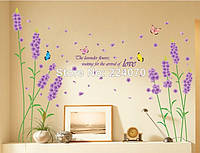 "Наклейка на стену, виниловые наклейки, наклейка цветок, наклейки на шкаф ""фиолетовые цветы лаванды"" лист50*70"
