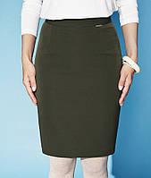 Классическая юбка карандаш зеленого цвета длиной по колено. Модель Ela Zaps, коллекция осень-зима 2015