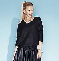 Стильная женская кофточка свободного кроя черного цвета. Модель Elza Zaps, коллекция осень-зима 2014-2015