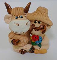 Мужик с коровкой статуэтка сувенир