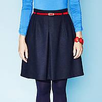 Молодежная теплая юбка темно-синего цвета, фасон клеш. Модель Raisa Zaps
