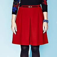 Женская теплая юбка клеш красного цвета с поясом в комплекте. Модель Raisa Zaps, осень-зима 2015