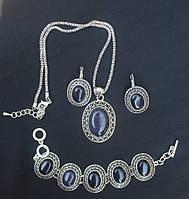 Ювелирный набор, АВАНТЮРИН, покрытие серебром