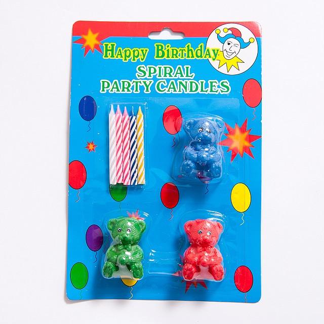 Свечи для торта с мишками-подсвечниками. Свечи для дня рождения