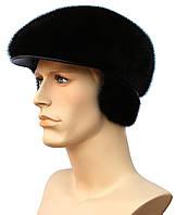 Мужская меховая кепка мягкая норковая (черная)