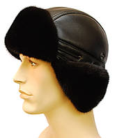 Зимняя мужская шапка норковая,короткое ухо (черная)
