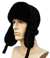 Зимняя норковая шапка на замше (черная)