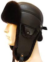 Зимняя норковая шапка на коже (черная)