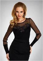 Блузка женская черная Eldar с длинным рукавом (деловая, офисная одежда)