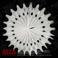 """Белый декор подвесной """"Диск"""" (веер, розетка) из бумаги тишью d=50 см."""