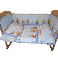 Детский постельный комплект Ассоль Эконом (8 пр.) Пчелы Голубой