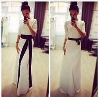 Платье Белое с черным поясом
