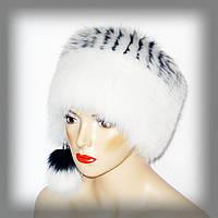 Песцовая женская шапка (белая кубанка)