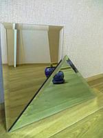 """Плитка зеркальная """"серебро"""" треугольник 500мм фацет 15мм.зеркальная плитка с фацетом.плитка треугольная."""