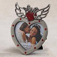 Свадебная фоторамка в виде сердца с красными вставками, 13х10 см