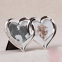 Свадебная фоторамка в виде двух сердец в металлической оправе 17х10,5 см