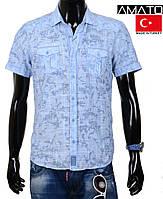 Мужская летняя рубашка с коротким рукавом Amato-1443,голубая