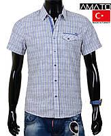 Мужская рубашка короткий рукав,клетка.