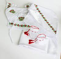 Набор для крестин девочке вышитый, натуральные ткани