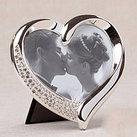 Свадебная фоторамка серебристого цвета в виде сердца, 14х13,5 см
