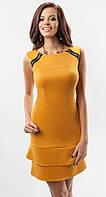 Женское молодежное платье желтого цвета без рукава. Модель 17010 Enny.