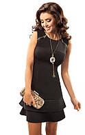 Молодежное мини-платье черного цвета без рукава. Модель 17010 Enny.