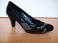 Туфли-лодочки натуральный черный замш с лазерной обработкой в 3х цветах со стразами