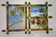 Рамка бамбуковая для фотографий и картин ( на 3 фото)