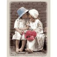 Картина раскраска по номерам на холсте 40*50см Menglei Идейка MG1044/M002 Первый поцелуй