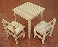 Комплект стол+ 2 стула для детской из дерева