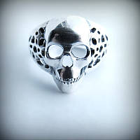 1026 Серебряное кольцо с черепом Терминатор из серебра 925 пробы