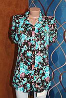 Рубашка удлиненная с цветами бирюза, Турция, размеры евро 38,40,42 наши 44,46,48