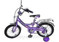 Велосипед 16 дюймов для детей двухколесный фиолетовый Profi P 1648