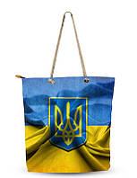 Сумка текстильная Туристическая  Сувенирная Желто-голубая Сумка с гербом Украины