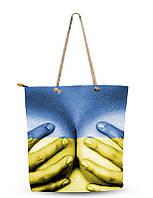 Сумка текстильная Туристическая  Сувенирная Желто-голубая  Ладони на груди