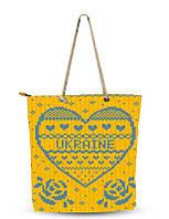 Сумка текстильная Туристическая  Сувенирная Желто-голубая Вышиванка Сердце